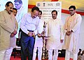 Harsh Vardhan lighting the lamp at the foundation stone laying ceremony for the Redevelopment and Upgradation of the Botanic Garden, in Noida, Uttar Pradesh.JPG