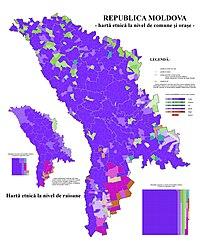 Carta etnica che segnala l'etnia maggioritaria nei singoli comuni della Moldavia