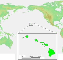 Location of the Hawaiian islands.