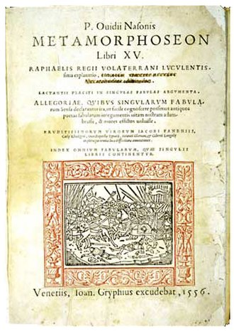 Metamorphoses - Title page of 1556 edition published by Joannes Gryphius (decorative border added subsequently). Hayden White Rare Book Collection, University of California, Santa Cruz