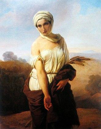 Ruth (biblical figure) - Portrait of a woman as Ruth (c. 1853) by Francesco Hayez