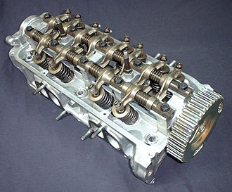 Multi-valve - A cylinder head from a 1987 Honda CRX Si showing SOHC, rocker arms, valve springs, and other components. This is a multi-valve configuration with two intake valves and one exhaust valve for each cylinder.