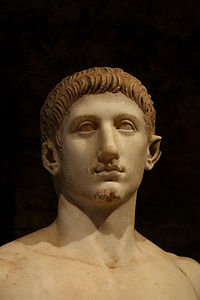 Head of a statue of a youth, semi-nude, in heroic pose (so-called Britannicus) - Mostra di Nerone - Palatin hill.jpg
