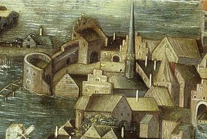 Stockholm during the early Vasa era - Northern city gate in 1535 as depicted in the Vädersolstavlan painting.