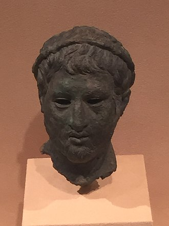 Philip V of Macedon - Hellenistic bust of a man wearing a laurel wreath, possibly a depiction of Philip V of Macedon, copper alloy, circa 200 BC, originally from Macedonia, now located in the Virginia Museum of Fine Arts, Richmond