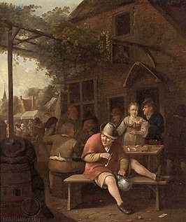 Hendrik Carree Figures Smoking And Drinking-Outside An Inn.jpg