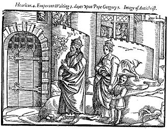 Henry IV, Holy Roman Emperor - Emperor Henry IV with his wife and child waiting for 3 days at Canossa  John Foxe 1563