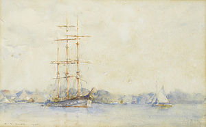Henry Scott Tuke - A three-masted barque in an estuary.jpg