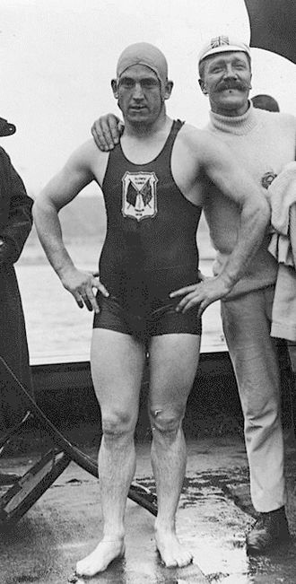 Henry Taylor (swimmer) - Taylor with coach at 1908 Olympics