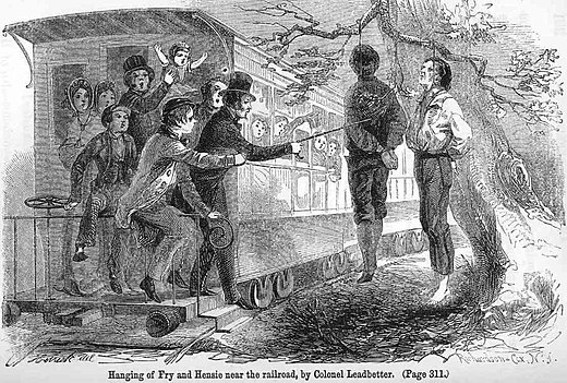 Passers-by abusing the bodies of Union supporters near Knoxville, Tennessee. The two were hanged by Confederate authorities near the railroad tracks so passing train passengers could see them. Hensie-fry-hanging-brownlow-1861.jpg