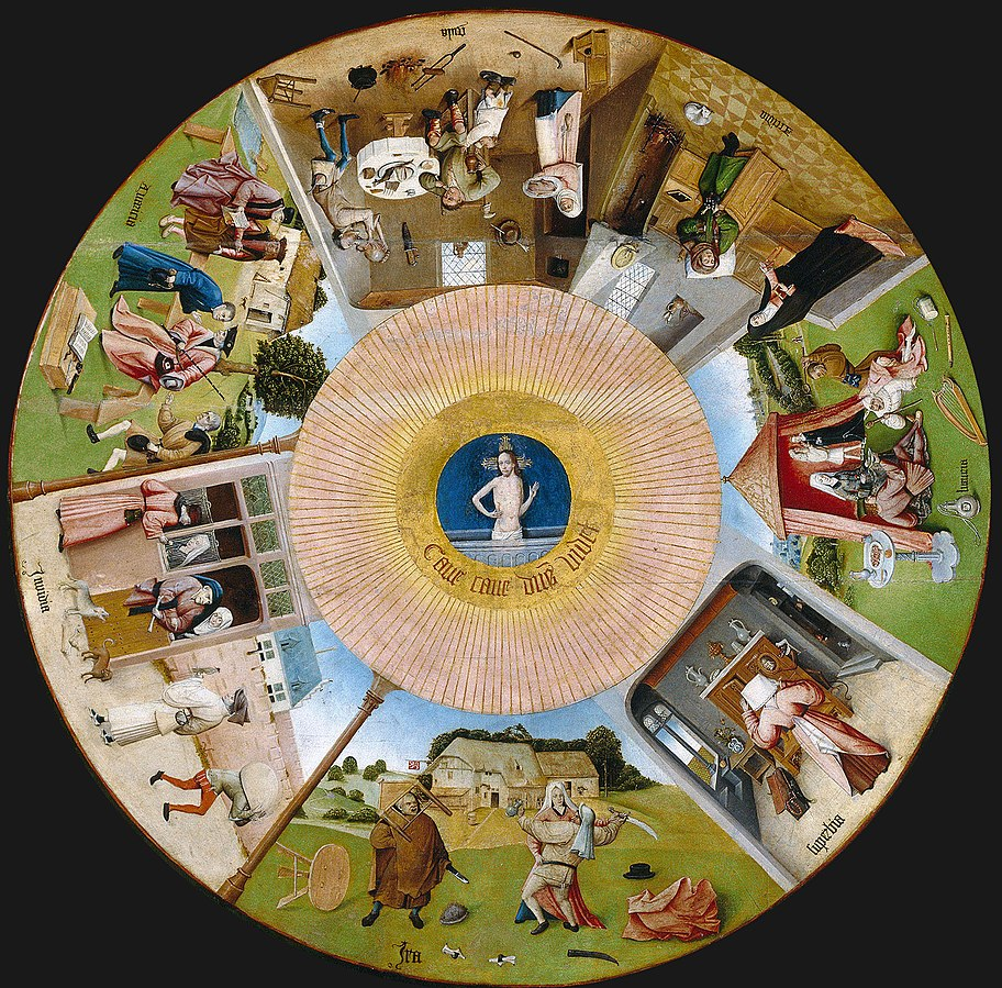 Circular image of the Seven Deadly Sins as portrayed by Hieronymus Bosch.