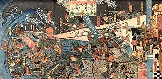 Utagawa Hirokage - Image: Hirokage (triptych) Great battle between the fruits & vegetables & fish (Aomono sakana gunzei daikassen no zu), 1859