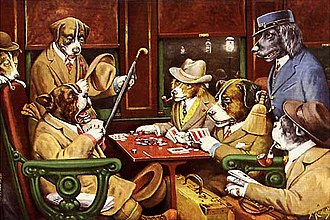 Dogs Playing Poker - His Station and Four Aces by C. M. Coolidge, 1903.