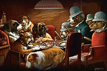 Картинка где собаки играют в карты вулкан казино с торрента