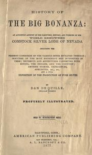 Dan DeQuille - History of the Big Bonanza, title page of first edition, 1877