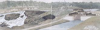 Hog's Back Falls - Falls and lock in 1832
