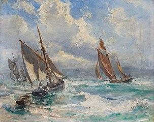 Fiskerbåde i stormvejr