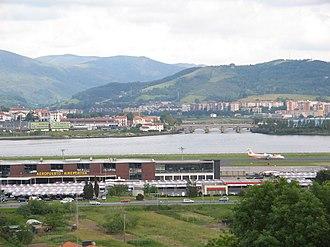 Bidasoa - The airport, Txingudi, the SNCF facilities in Hendaia, Irun in the distance and the Santiago Bridge spanning the borderline