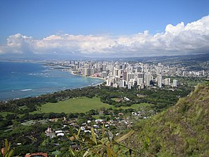 Honolulu and Waikiki from top of Diamond Head.