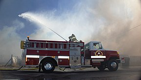 e-one fire engine in action  huachuca city, arizona, 2010