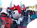 Huanhuan costume being packed up at 2008 Olympic Torch Relay in SF 2.JPG