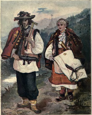 Hutsuls - Painting of a Hutsul man and woman in 1902 by Seweryn Obst