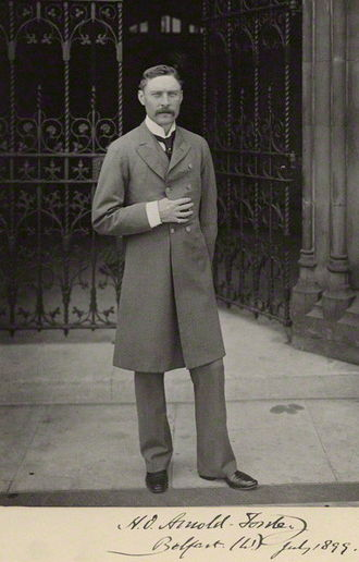 Territorial and Reserve Forces Act 1907 - Hugh Arnold-Forster, photographed outside the Palace of Westminster in 1899.