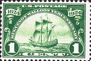 Huguenot-Walloon half dollar - The one cent stamp issued by the United States Post Office Department for the anniversary displays a design similar to the half dollar's reverse.
