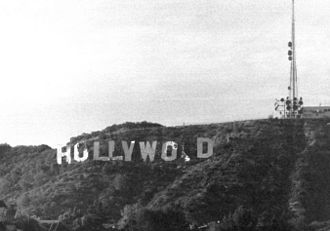 Hollywood Sign - In the 1970s, the sign reached its most dilapidated state. This image was taken shortly before the sign's 1978 restoration.