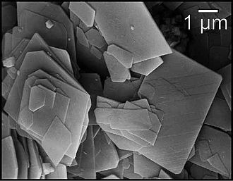 Hydromagnesite - SEM micrograph of hydromagnesite showing platy crystal morphology.  Sample was collected from the hydromagnesite-magnesite playas near Atlin, British Columbia, Canada.