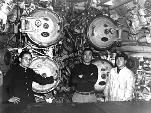 Japanese submarine I-58 (1943) - The forward torpedo room of I-58 while at Sasebo in 1946 just before the submarine was scuttled.