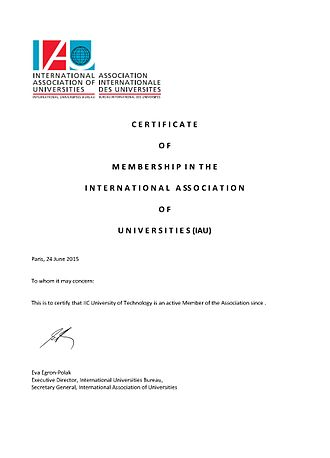 IIC University of Technology - IAU Membership
