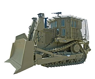 Slat armor - An IDF Caterpillar D9 armored bulldozer equipped with slat armor surrounding its driver's cab.