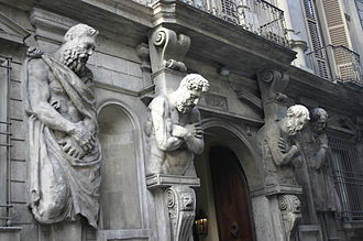 Atlas (architecture) - Atlantes of the Casa degli Omenoni, Milan