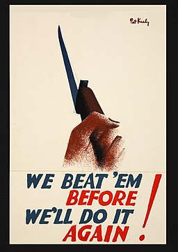 INF3-134 War Effort We beat 'em before. We'll do it again (hand clasping bayonetted rifle) Artist Pat Keely