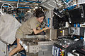 ISS-21 Nicole Stott installs hardware in the Fluids Integrated Rack in the Destiny lab.jpg