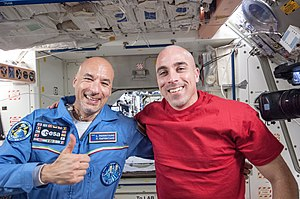 Luca Parmitano -  Parmitano (left), pictured with Expedition 36 crew member Chris Cassidy