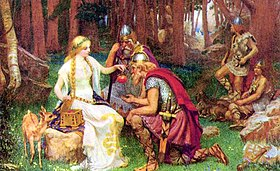 The Norse gods were mortal, and they had to eat Iðunn's golden apples in order not to age until Ragnarök when most of them would die. Image by J. Penrose, 1890.