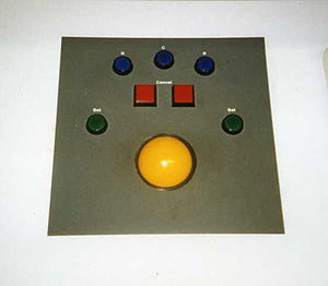 Integrated Electronic Control Centre - IECC trackerball and associated buttons used for route setting