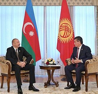 President of Kyrgyzstan - Sooronbay Jeenbekov receiving Ilham Aliyev at the State Residence №2.