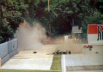 Death of Ayrton Senna - Senna's fatal accident just after the moment of impact at the Tamburello corner of the Imola circuit