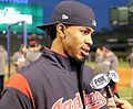 Indians shortstop Francisco Lindor does an interview at Wrigley Field. (30343252930).jpg