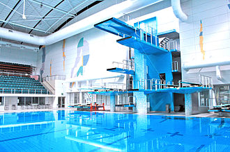 Paralympic swimming - Image: Indoor Swimming Pool with Diving Platform and Springboards