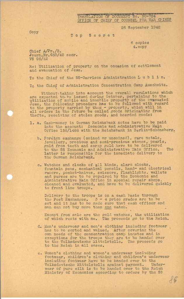 Fileinstructions To Ss Officials At Lublin And Auschwitz For The