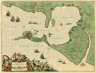 Asiento - The island Cádiz by Blaeu in 1662.