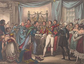 Battle of Ligny - A Prussian officer informs the Duke of Wellington—who was attending the Duchess of Richmond's ball—that the French have crossed the border at Charleroi and that the Prussians would concentrate their army at Ligny.