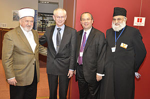 Islamic–Jewish relations - First Gathering of European Muslim and Jewish leaders in Brussels, December 2010 hosted by the Foundation for Ethnic Understanding - left to right: Grand Mufti Mustafa Ceric - European Council President Herman Van Rompuy - Rabbi Marc Schneier - Imam Dr. Abdujalil Sajid
