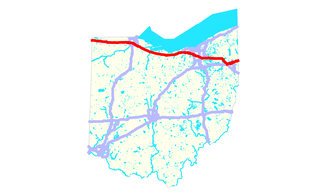 Interstate 80 in Ohio - Image: Interstate 80 (OH) map