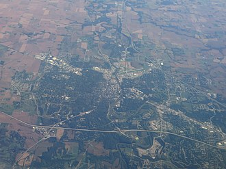 Iowa City, Iowa - Aerial view of Iowa City