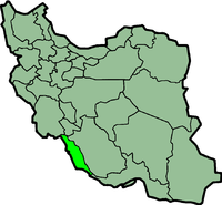 Map of Iran with बुशहर highlighted.